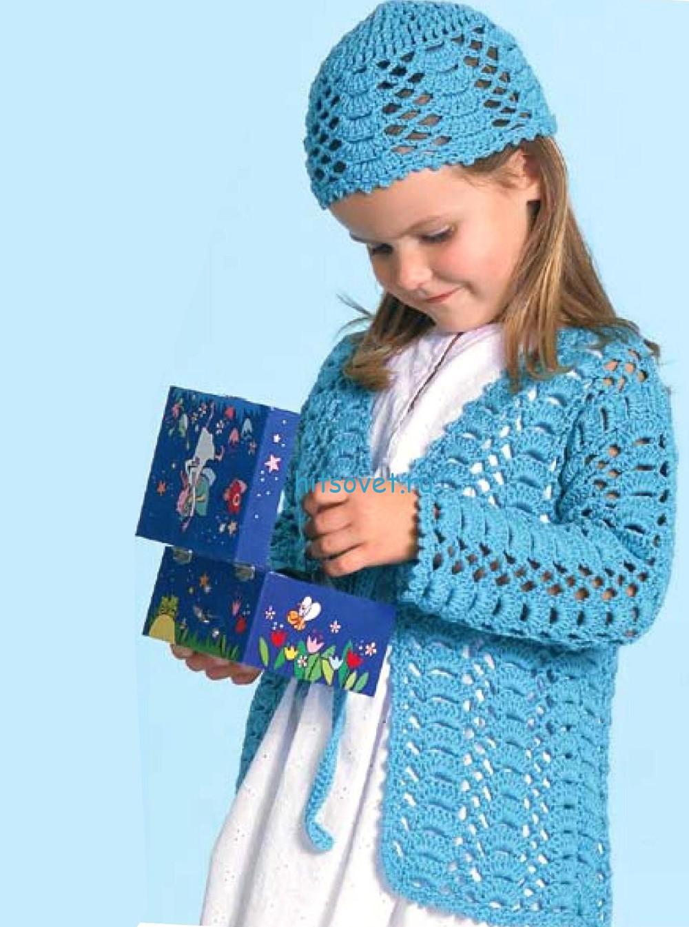 Вязание для девочки жакета и шапочки
