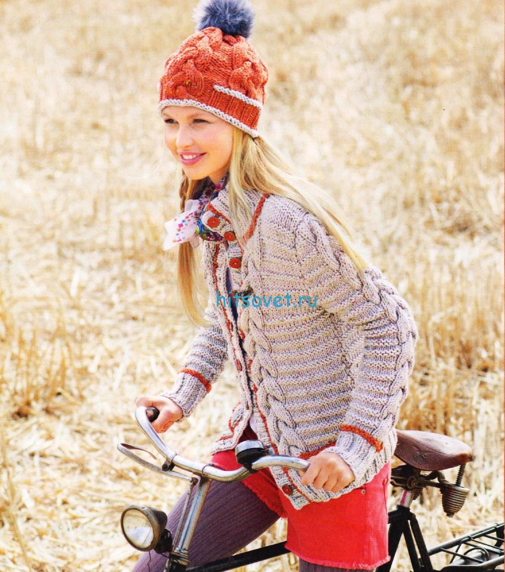 Вязание жакета и шапочки с косами, фото.