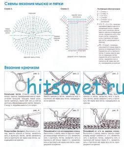 Описание и схемы вязания носков крючком