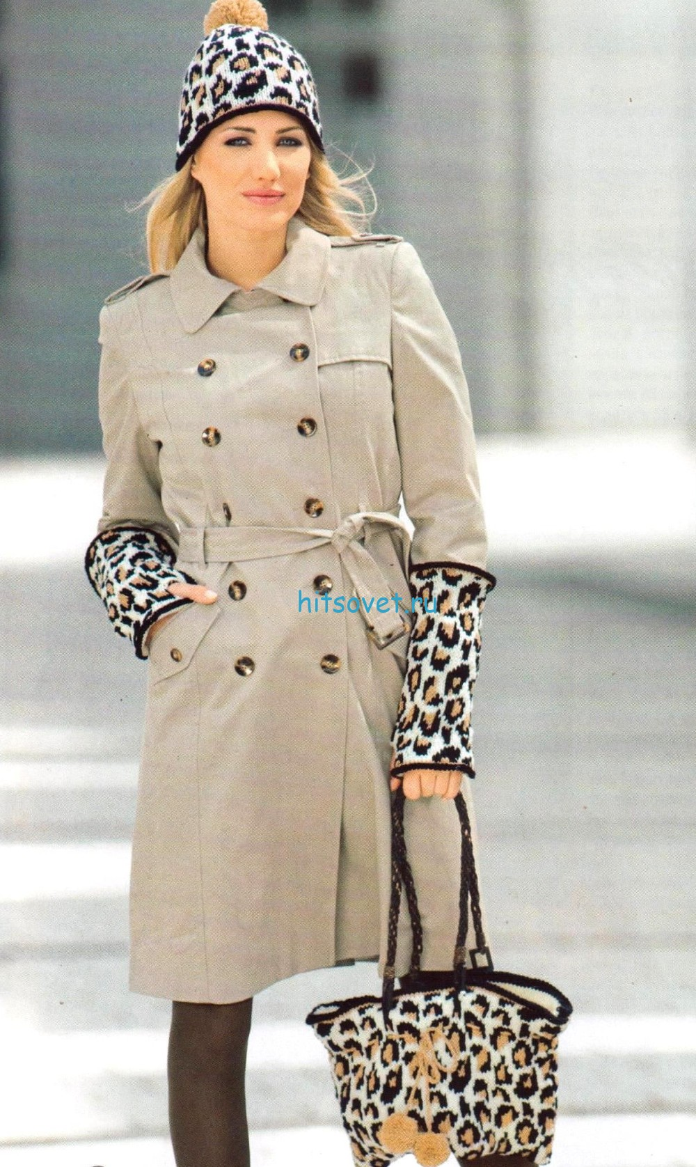 Леопардовая вязаная шапка, митенки и сумка