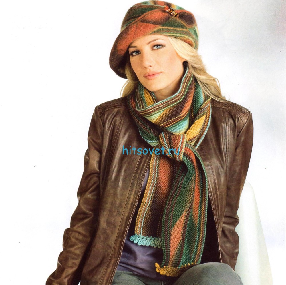 Фетровая вязаная шляпа и шарф спицами, фото.
