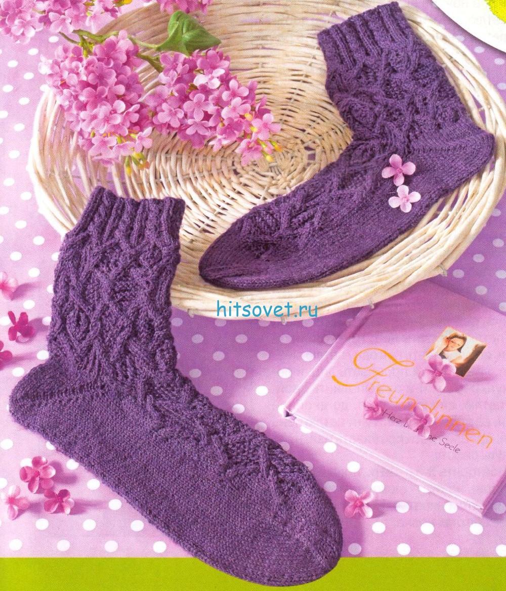 Вязание носков с ромбами