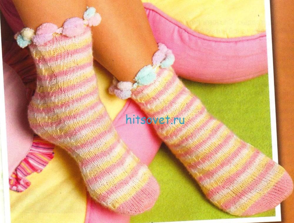 Вязание носков по спирали лицевой гладью
