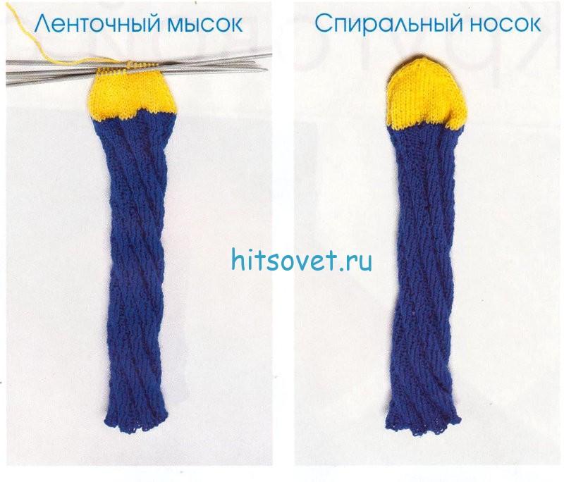 Вязание носок спиралью
