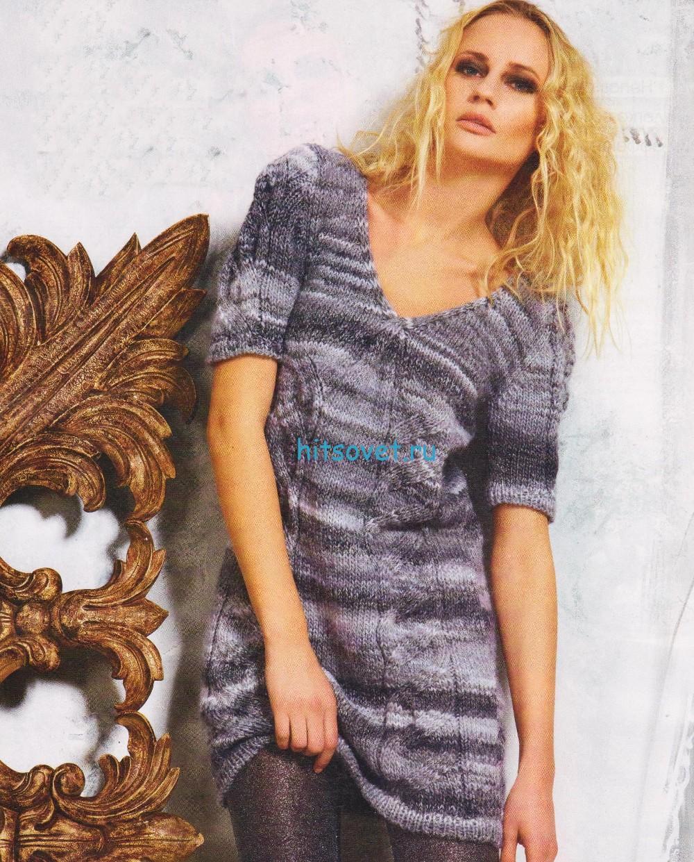 Меланжевое платье спицами схема