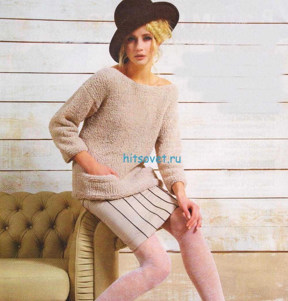 Кремовый пуловер спицами