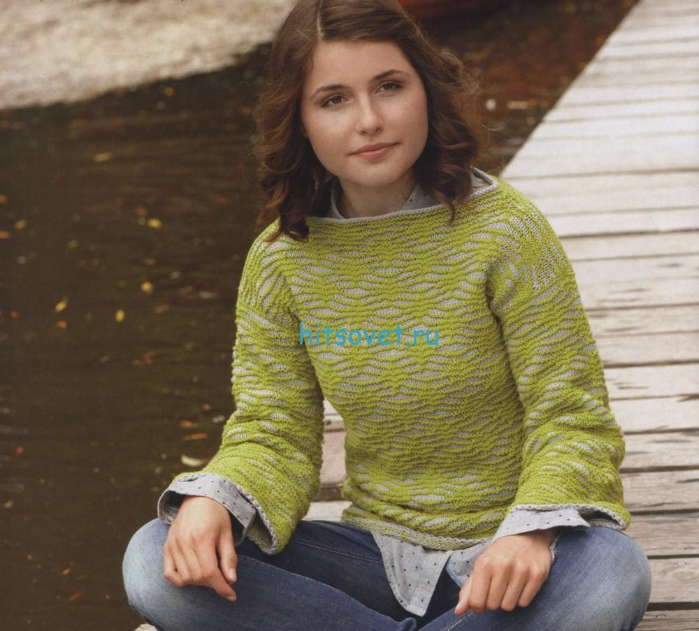 Вязаный пуловер спицами схема и описание
