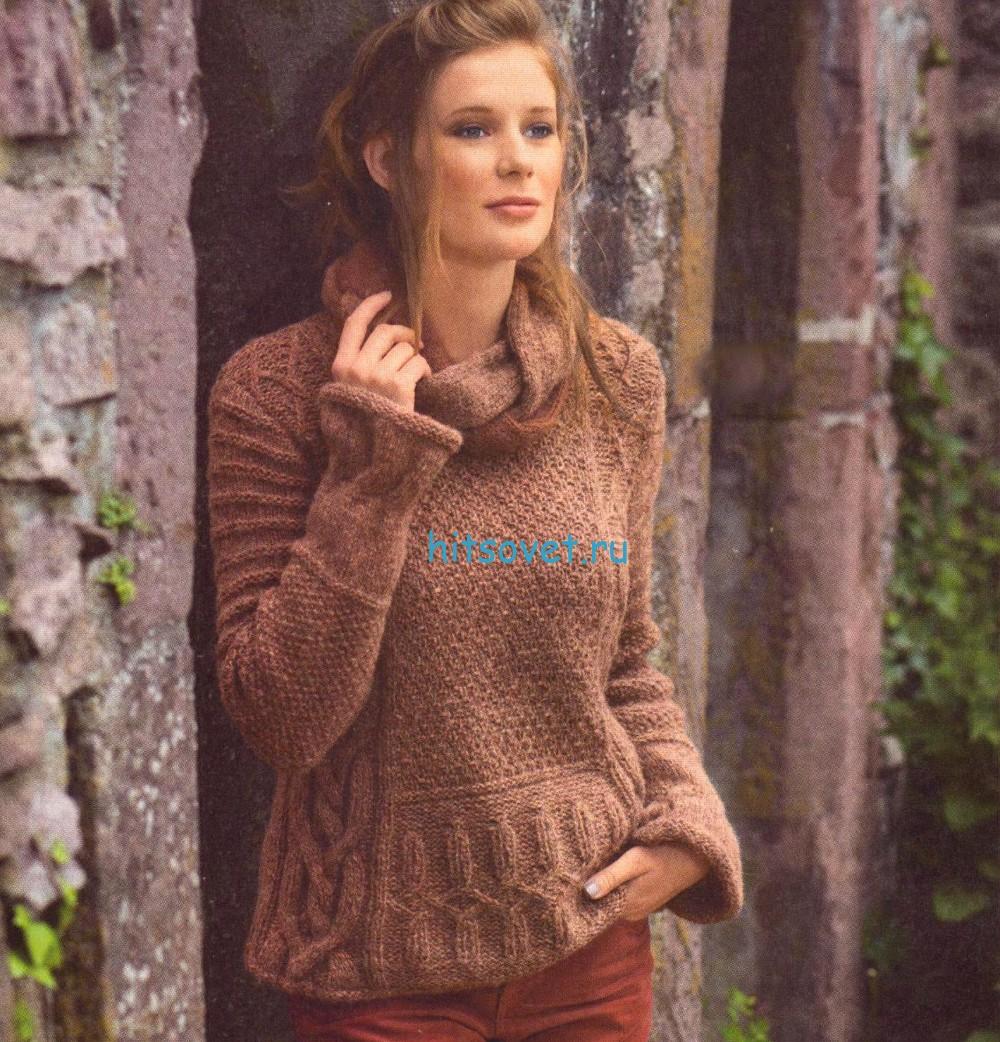 Пуловер с воротником хомут спицами