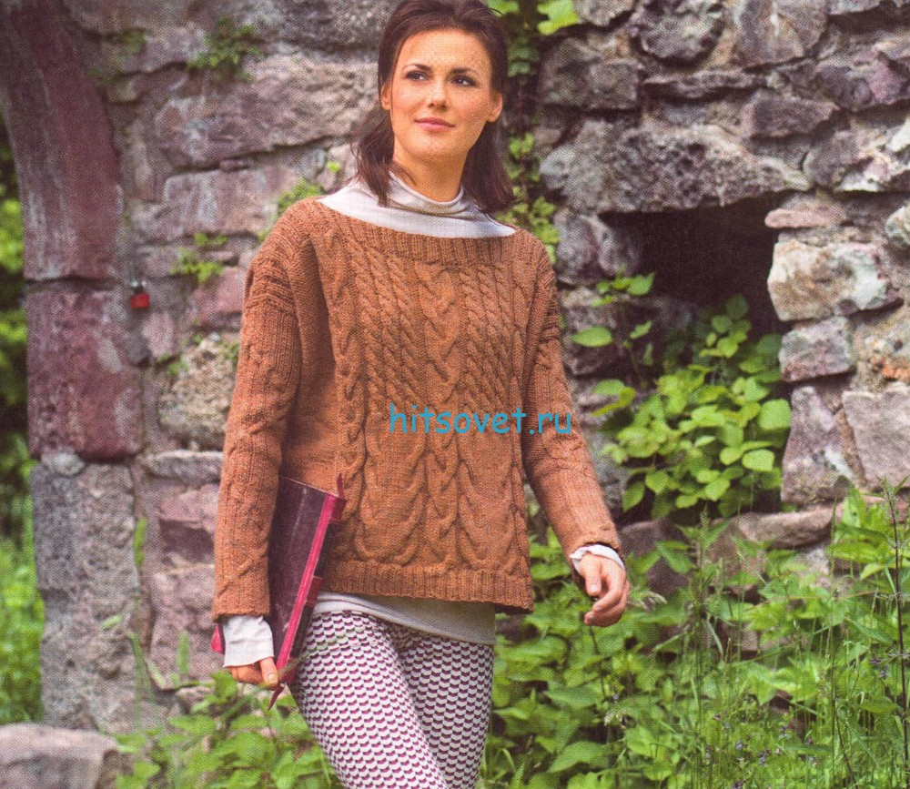 Вязание спицами пуловер с косами