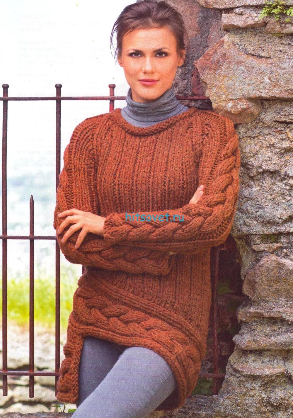 Вязаный пуловер с асимметричным краем