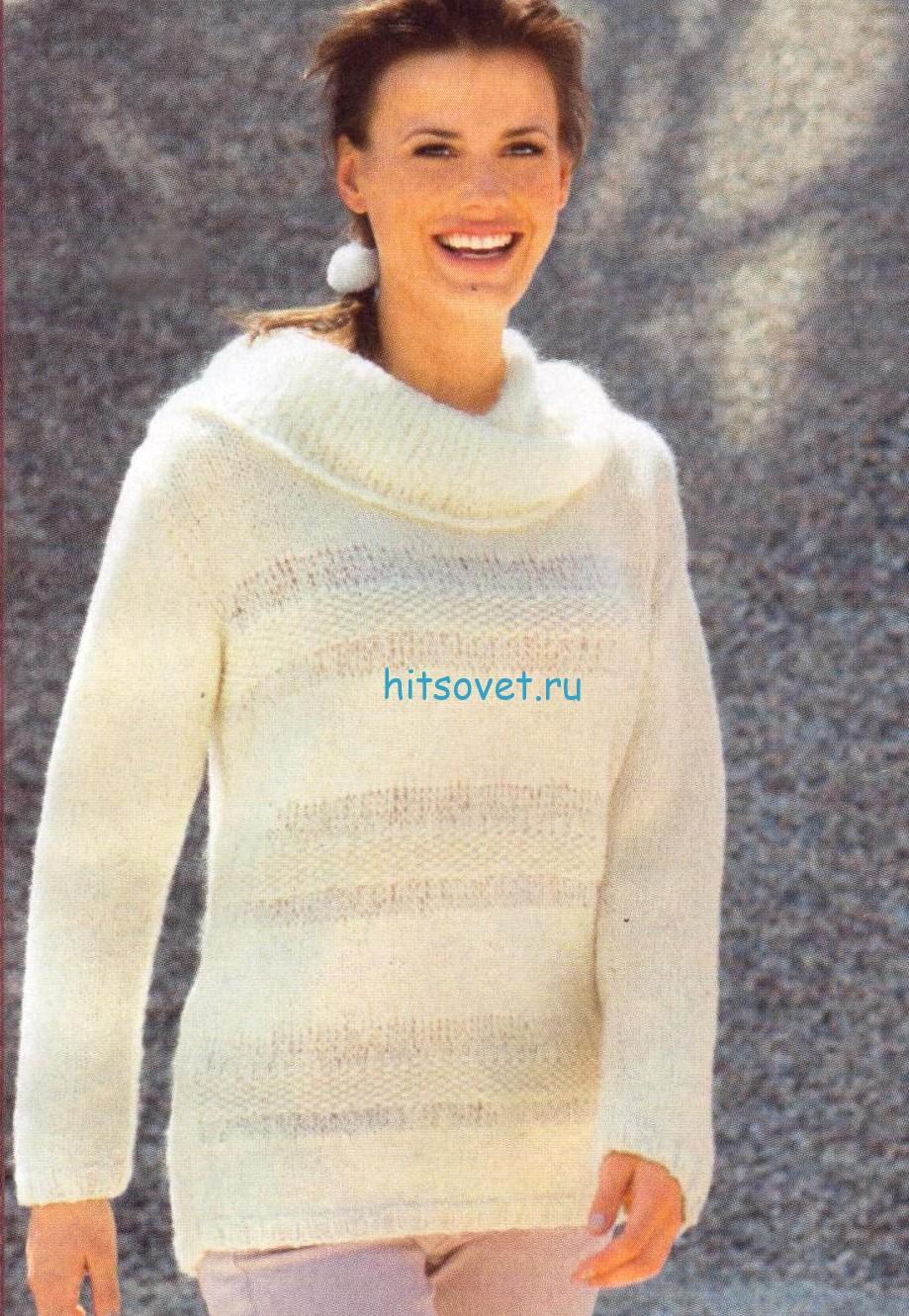 Вязаный пуловер цвета экрю