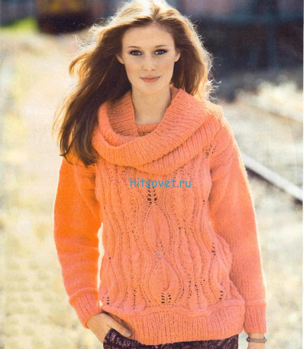 Вязаный пуловер с воротником хомут