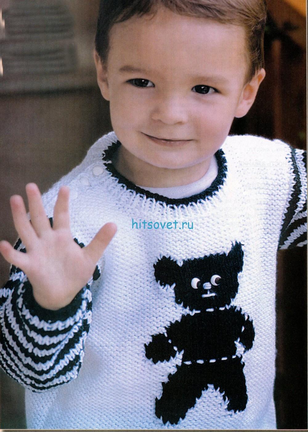Вязание для мальчиков пуловера с мишкой