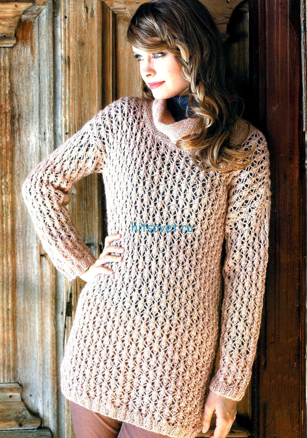 Ажурный удлиненный пуловер спицами