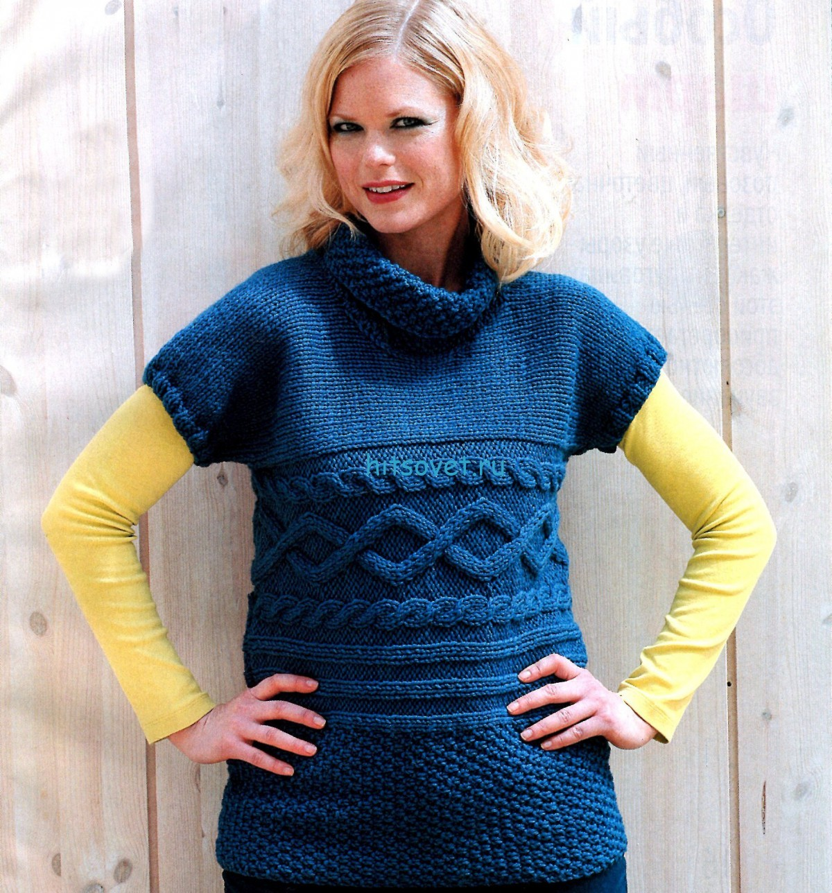 Пуловер с короткими рукавами схема