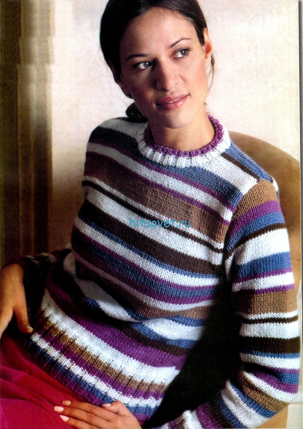 Полосатый пуловер спицами из тонкой пряжи