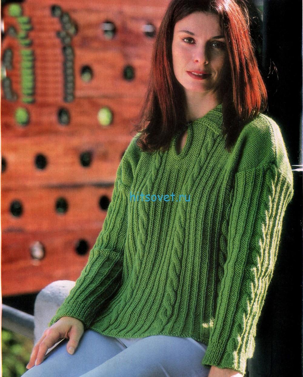 Вязание зеленого пуловера спицами