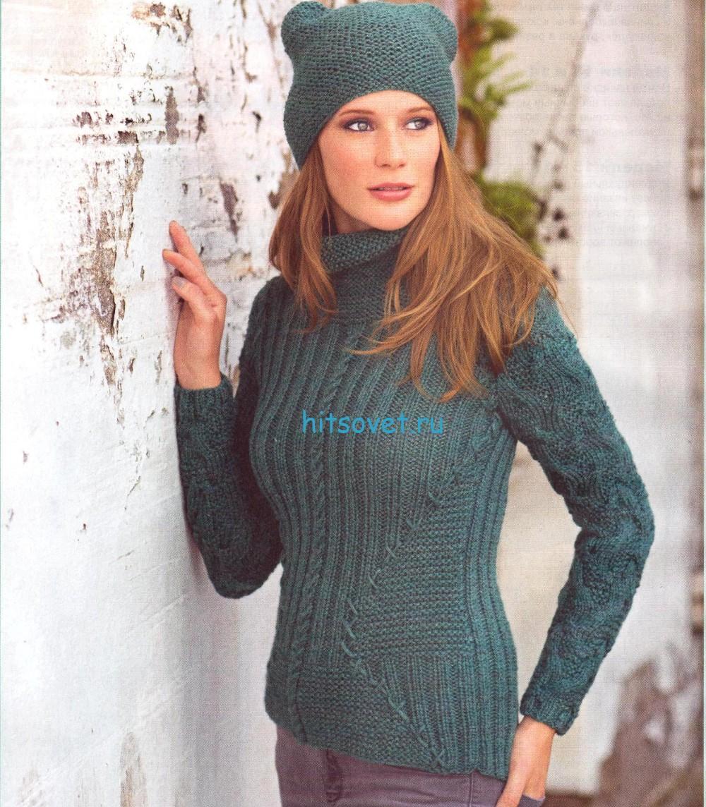 Вязаный пуловер и шапочка с ушками, фото.
