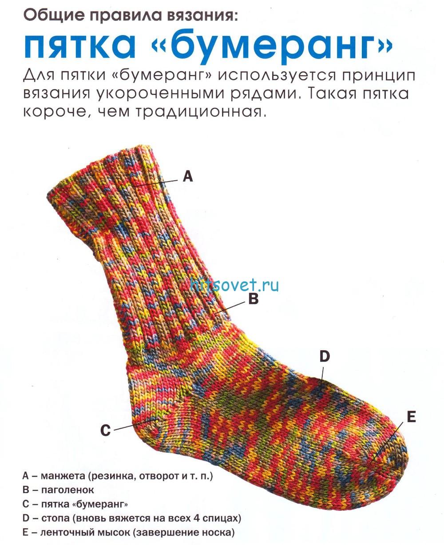 Вязание пятки на носке. схема