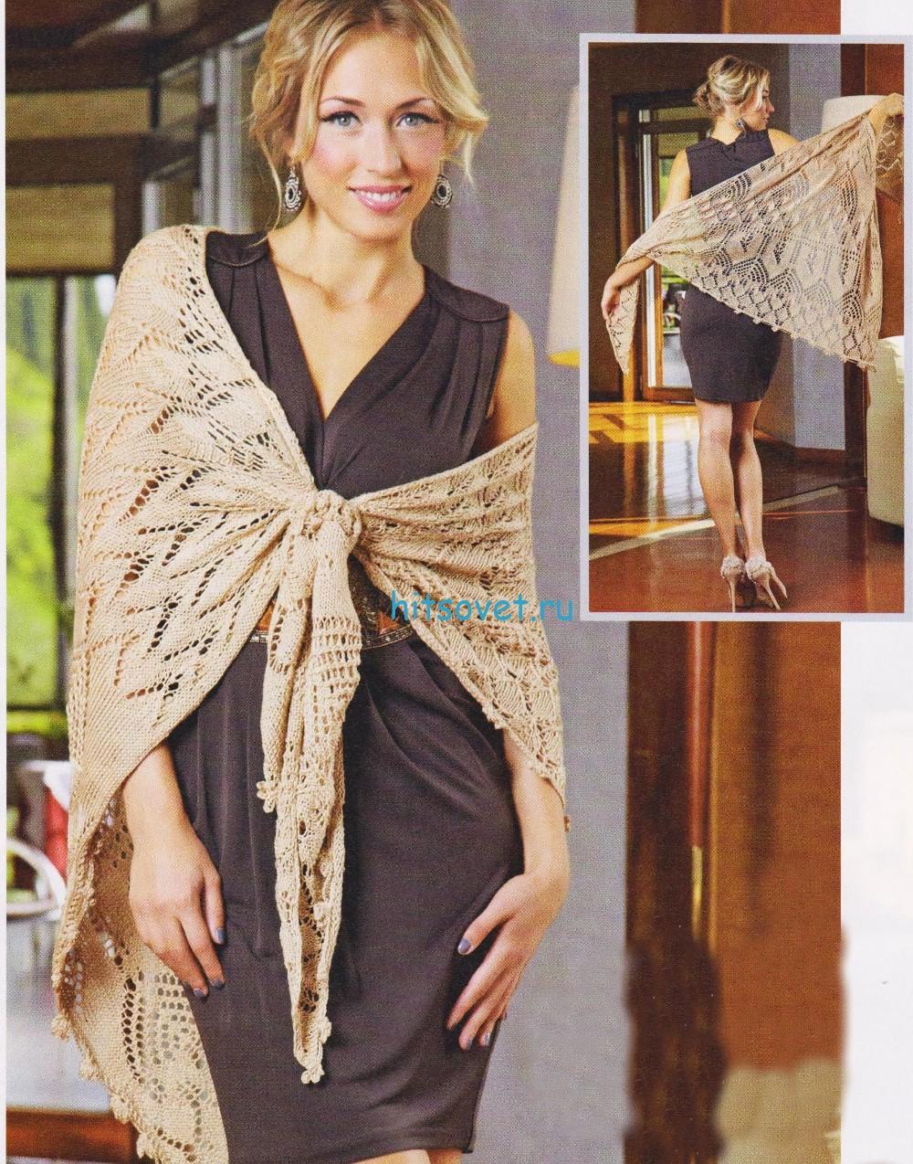 Вязание шали со схемой