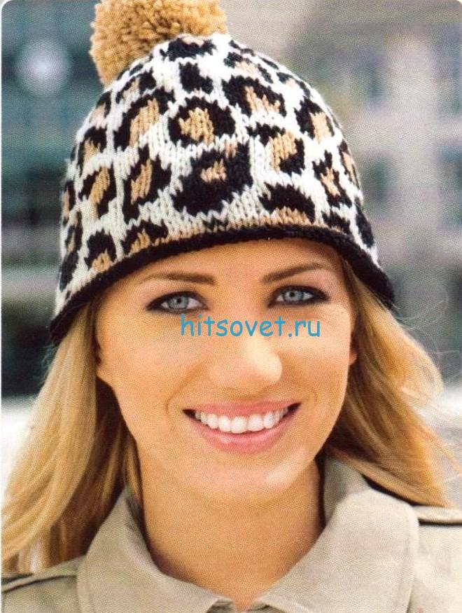 Леопардовая вязаная шапка, митенки и сумка, фото 2.