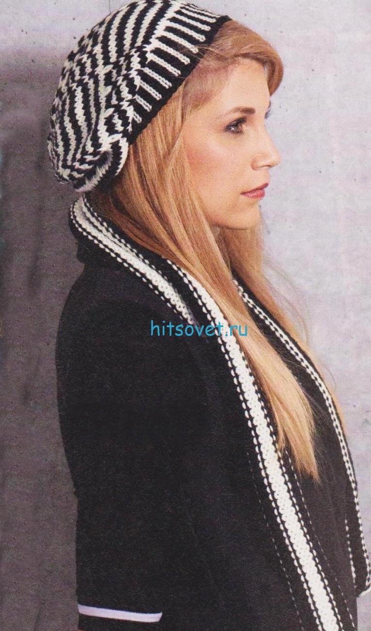 Черно-белая шапка и шарф спицами, фото.