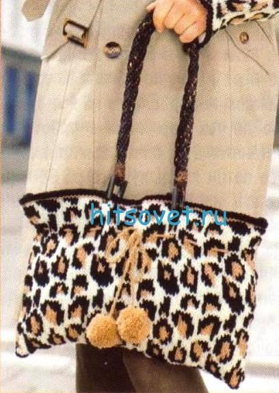 Леопардовая вязаная шапка, митенки и сумка, фото 3.