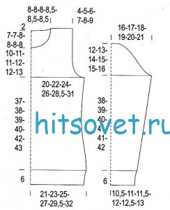 Вязаный свитер спицами из секционки, схема.
