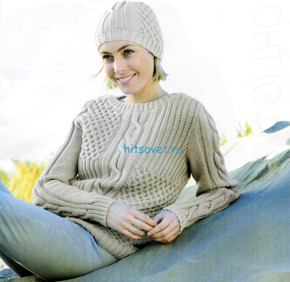 Вязаный джемпер и шапочка спицами, фото.