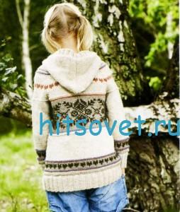 Вязание для девочки кардигана с капюшоном, фото 2.