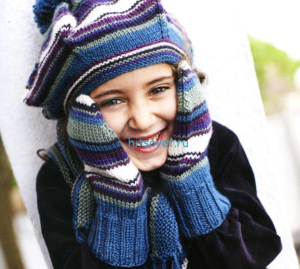 Вязание для девочек берета, шарфика и варежек