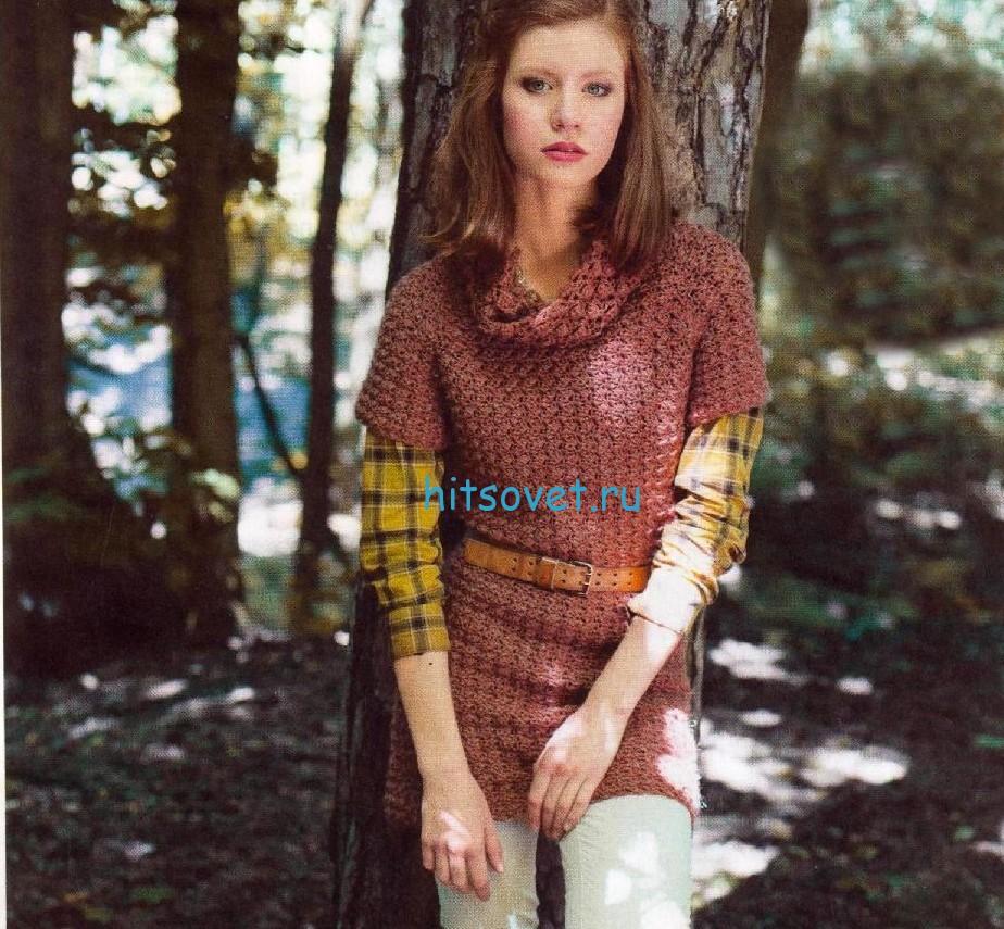 Меланжевый пуловер крючком с узором