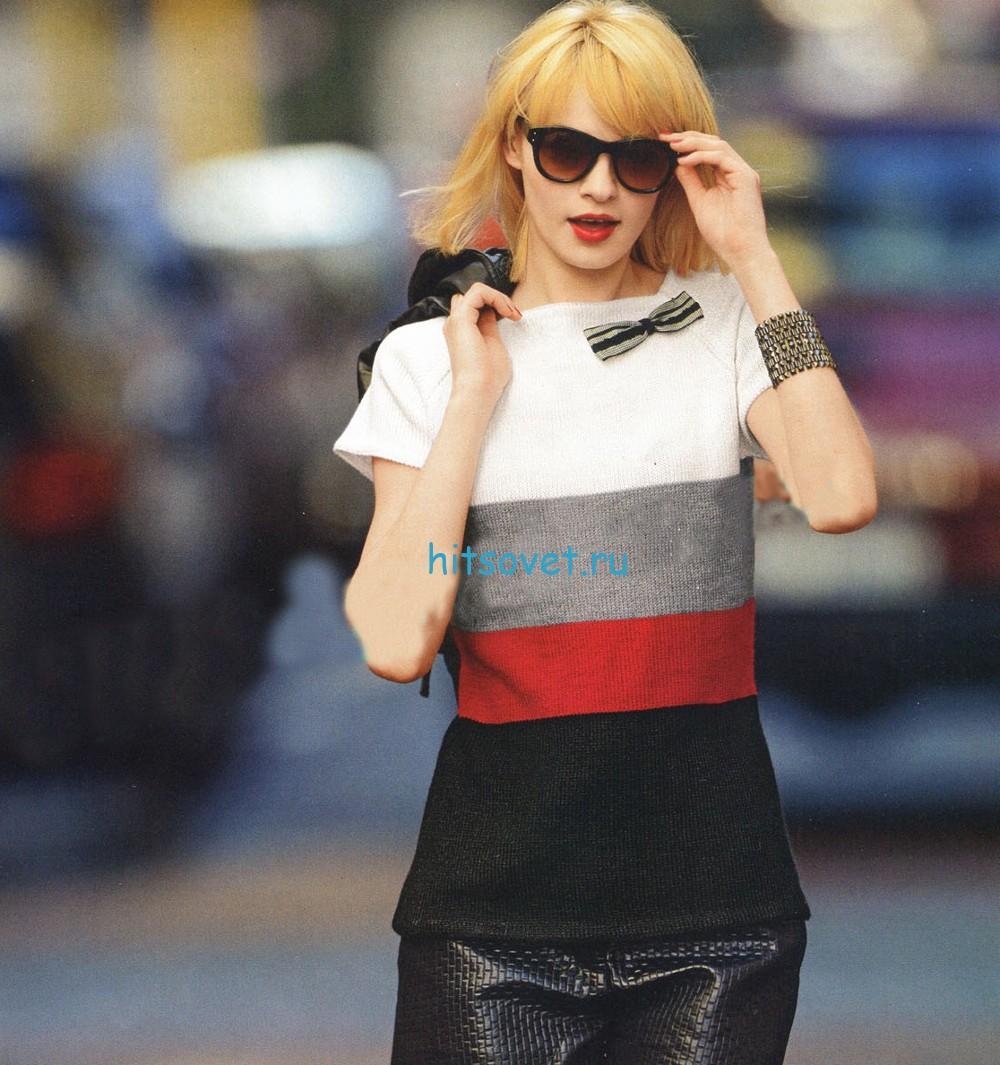Трехцветный пуловер с короткими рукавами