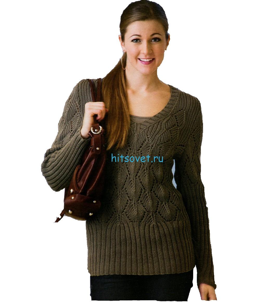 Вязаный пуловер цвета хаки, фото.