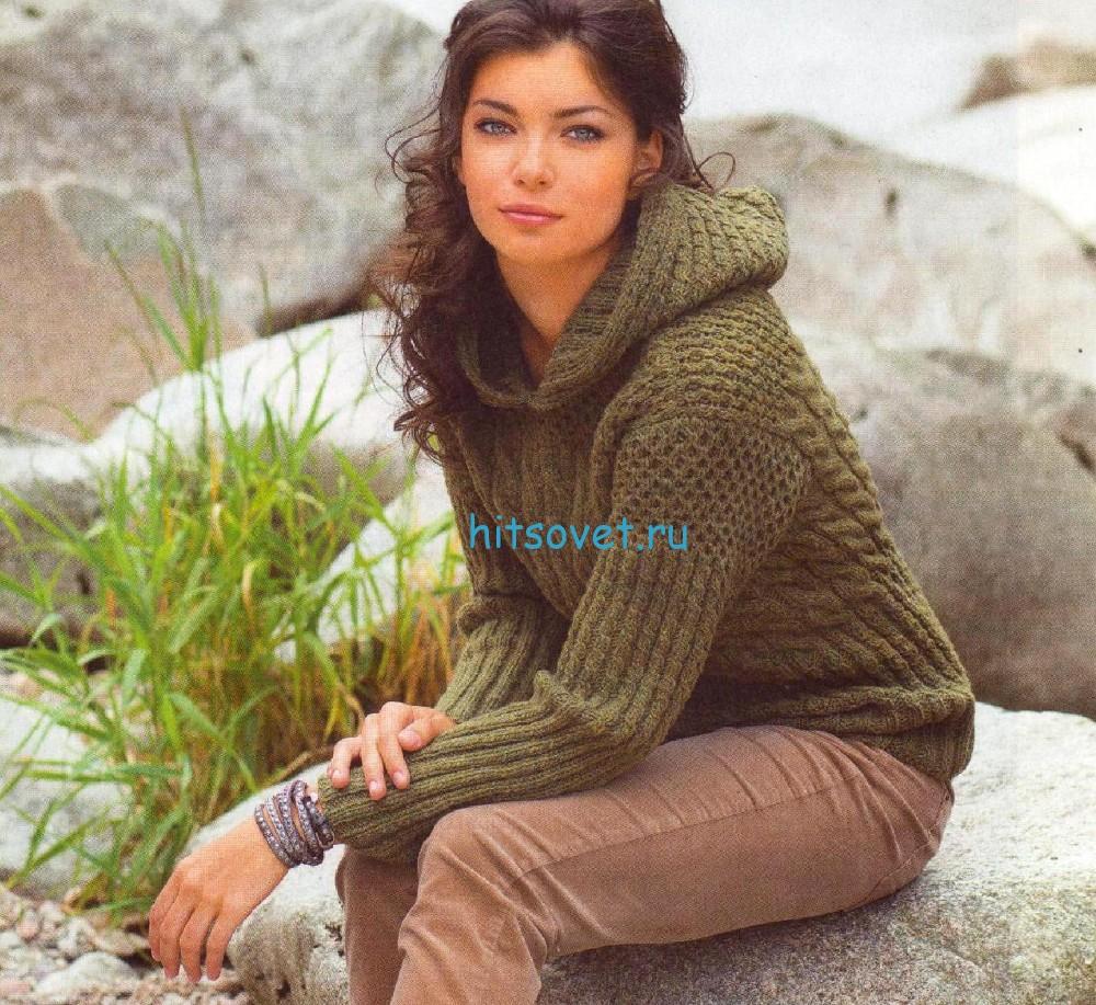 Стильный пуловер с капюшоном схема