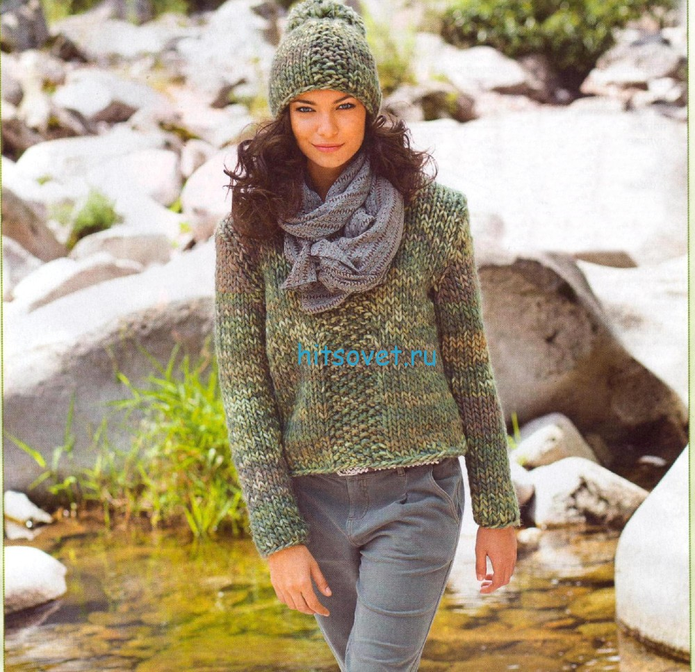Меланжевый пуловер и шапочка спицами, фото.