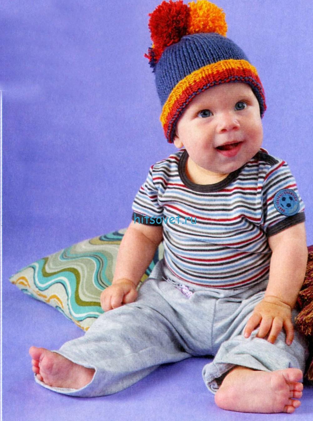 Вязание для малышей шапочки с помпонами,фото
