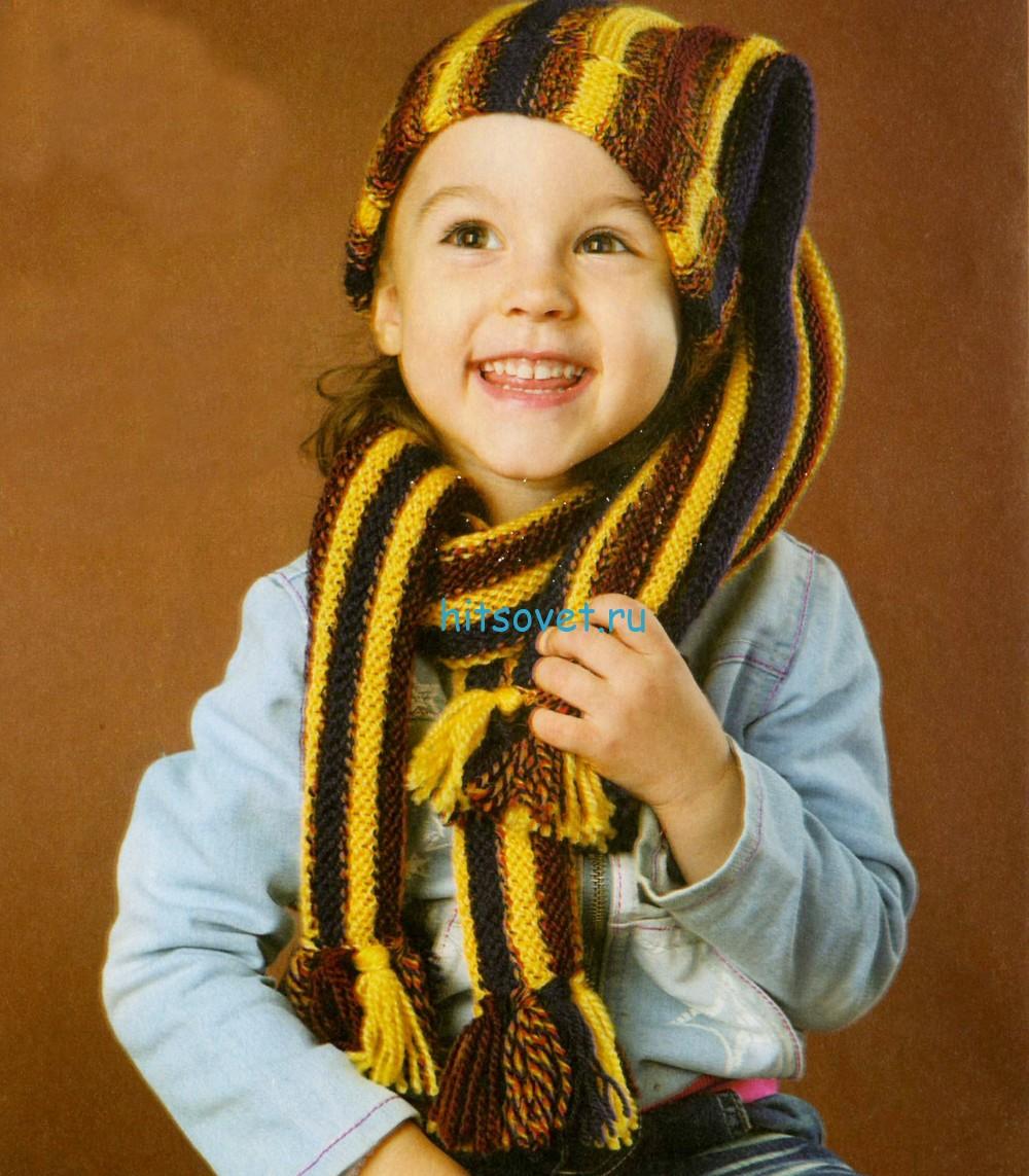 Вязание для девочек шапочки и шарфика, фото.