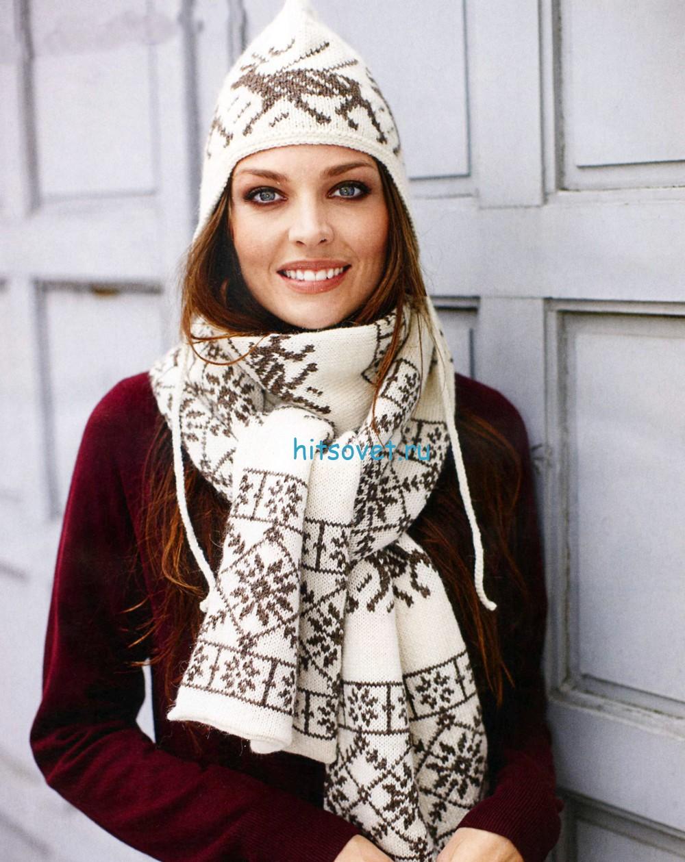Жаккардовая шапочка и шарф спицами, фото.