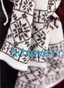 Жаккардовая шапочка и шарф спицами, фото 2.
