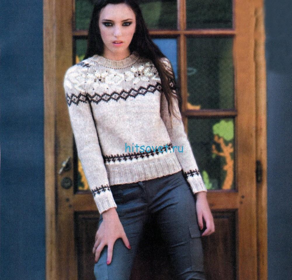 Вязаный женский свитер с жаккардом