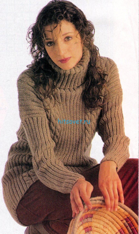 Вязаный свитер со схемой и описанием, фото.