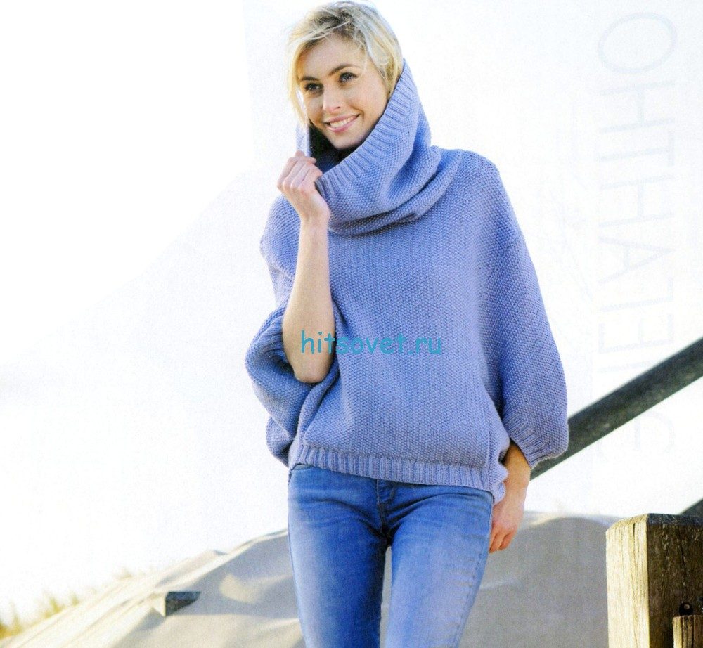 Свободный свитер спицами, фото.