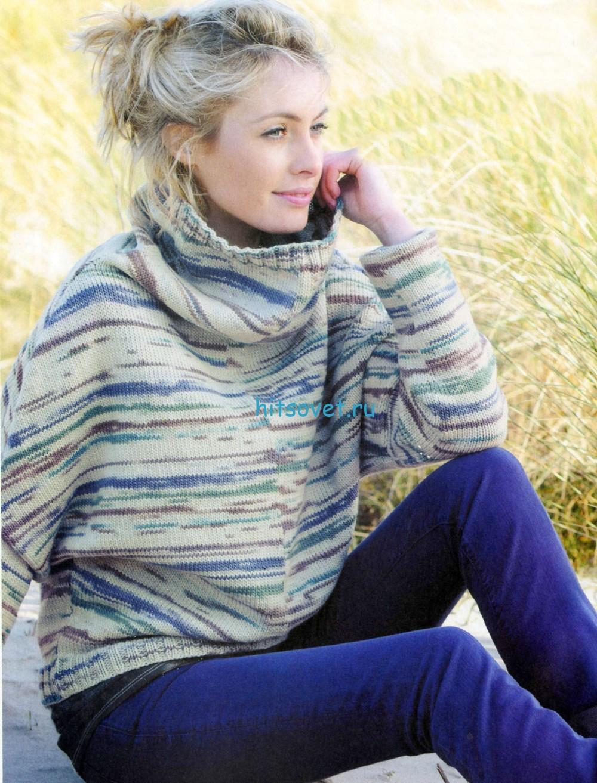 Вязаный свитер спицами из секционной пряжи
