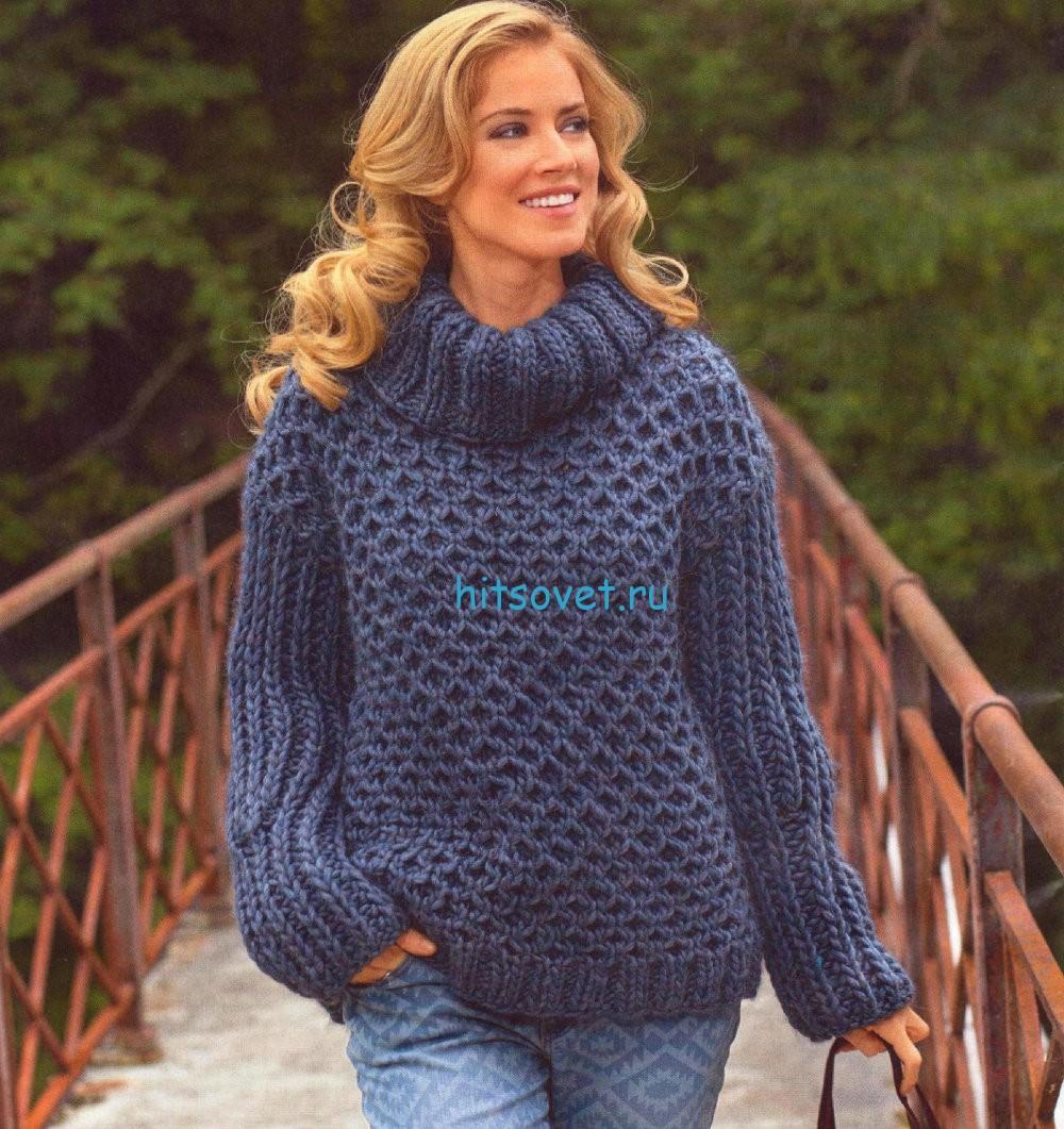 Вязаный свитер с узором из сот, фото.