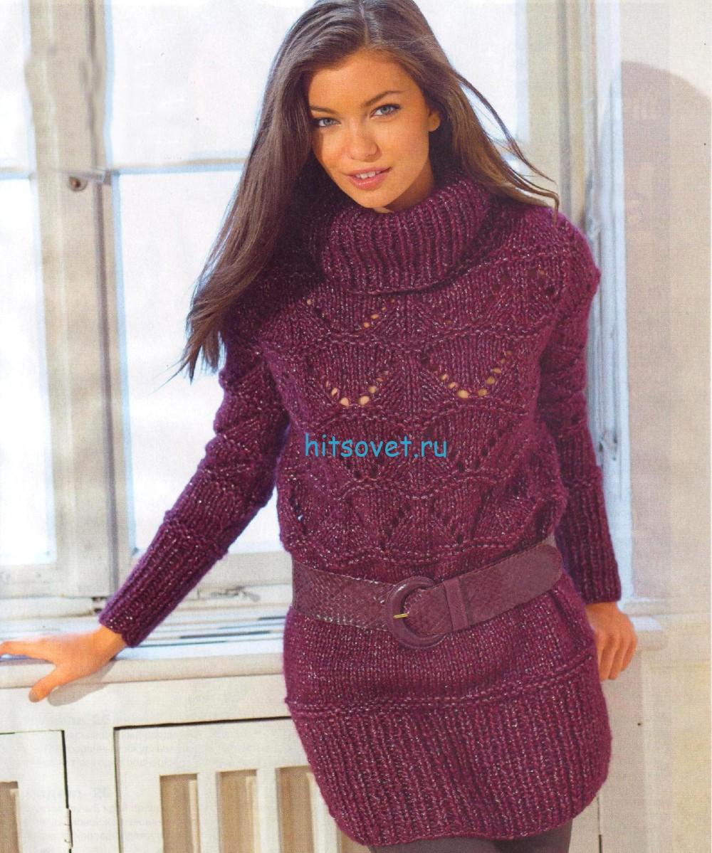 Удлиненный вязаный свитер, фото.