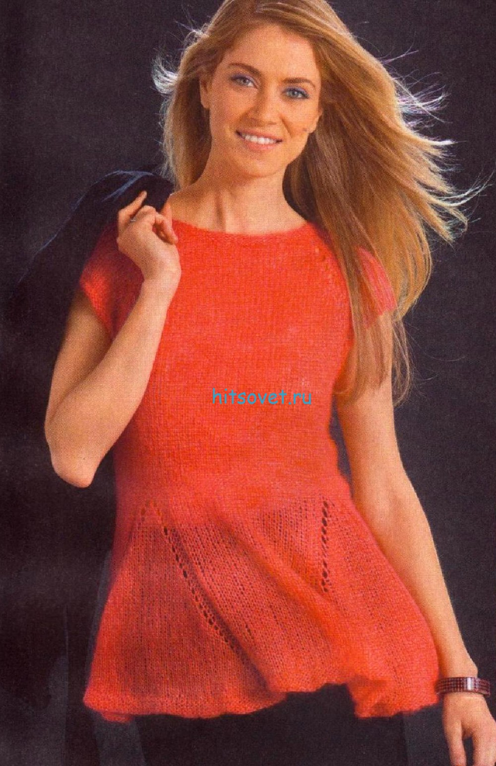 Оранжевая туника спицами, фото.