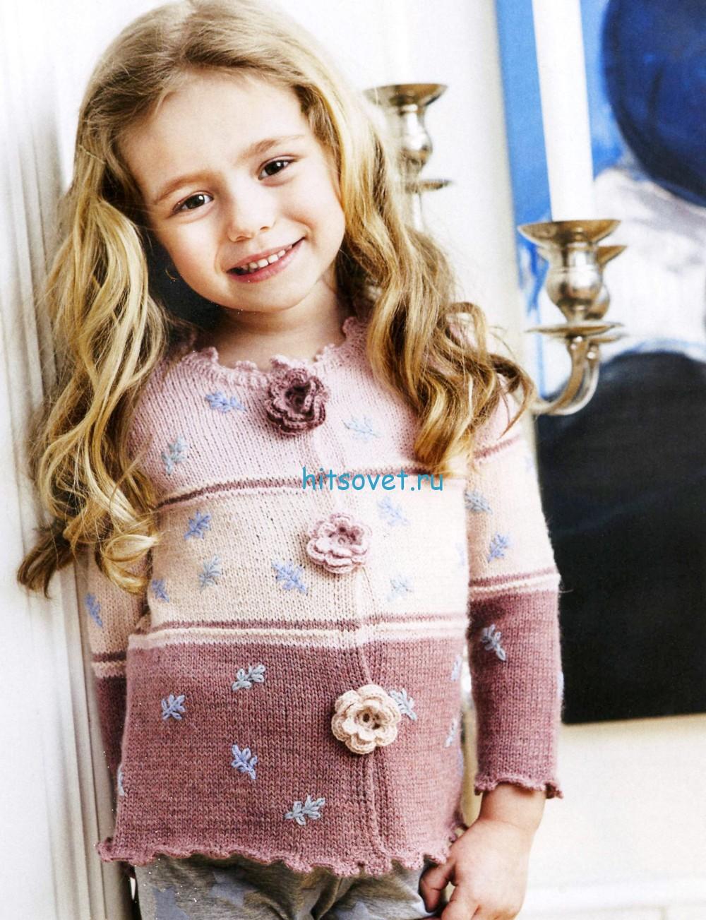 Вязание для девочки красивого жакета