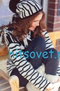 Вязание пуловера, шарфа и шапки крючком, фото 3.
