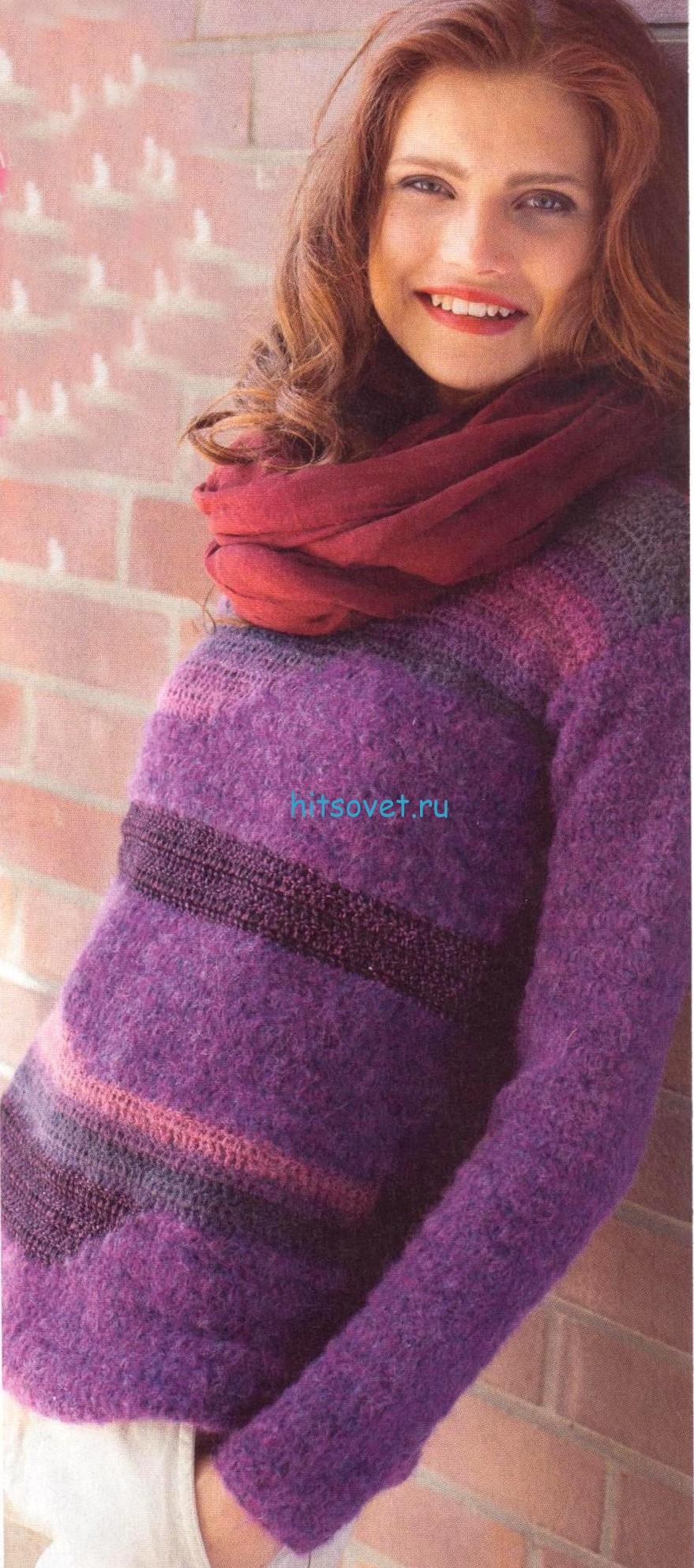 Вязание крючком пуловера женского